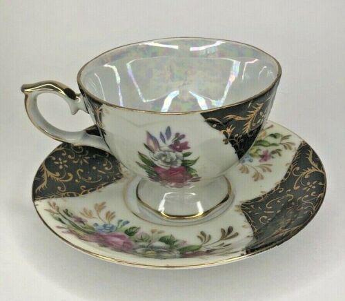Tea cup & Saucer Japan Luster black gold floral Vintage Registered Celebrate