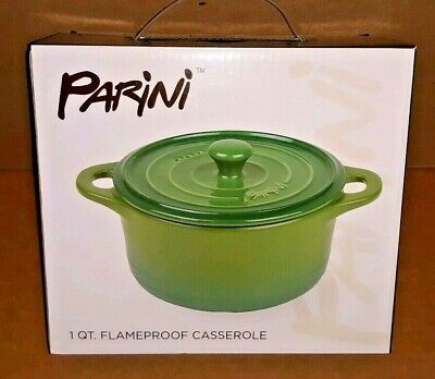 Brand New!! Parini 1 QT.  Flampeproof Casserole Dish With -