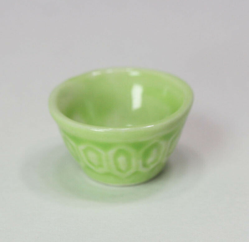 Dollhouse Miniature Ceramic Green Glazed Mixing Bowl