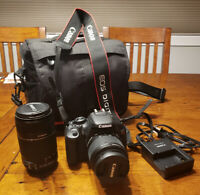 Canon EOS Rebel T3i camera and 2 lenses for sale