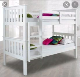 Happy Beds Atlantis White Solid Pine Wooden Kids Bunk Bed with 2 x Mat