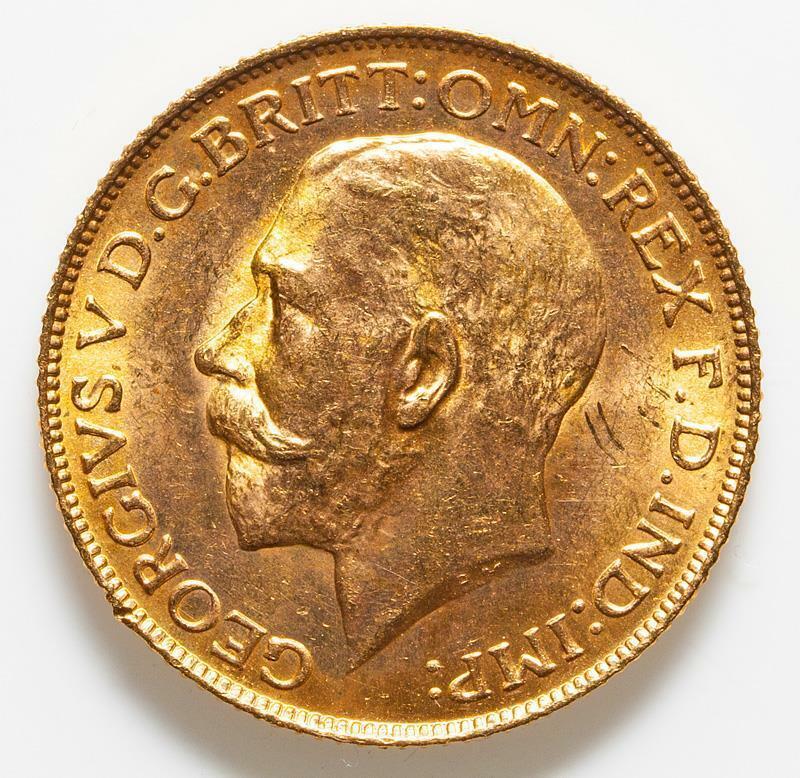 1925 UK BRITISH KING GEORGE V FULL GOLD SOVEREIGN  .2354 AGW (GBt)
