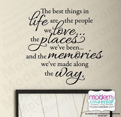 THE BEST THINGS IN LIFE Quote Vinyl Wall Decal Inspirational LOVE,