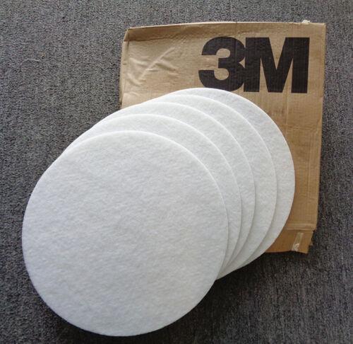"""3M, 17"""" White Carpet Bonnet, Polyester Fiber, 5 in box, 70-0711-6317-7"""