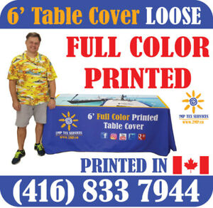 Printed LOOSE Table Cover Trade Show Event Full Color Dye-Sub