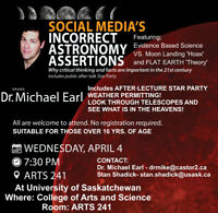 SCIENCE & SOCIAL MEDIA, TALK PLUS STAR PARTY! DR. MICHAEL EARL