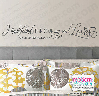 Song Of Solomon 3 (Song Of Solomon 3:4 Quote Vinyl Wall Decal I have Found the One my Soul)