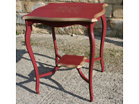 Antique Lamp Table Painted in Deep Red with Gold Trim.