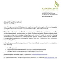 Process Technician - Permanent, Full Time Position (w/ benefits)