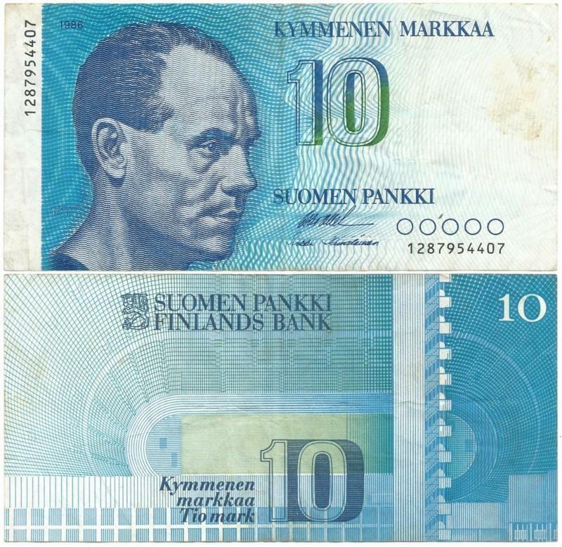 """1986 FINLAND 10 or """"KYMMENEN"""" MARKKAA Note >SHOWS Paavo Nurmi the """"FLYING FINN"""""""