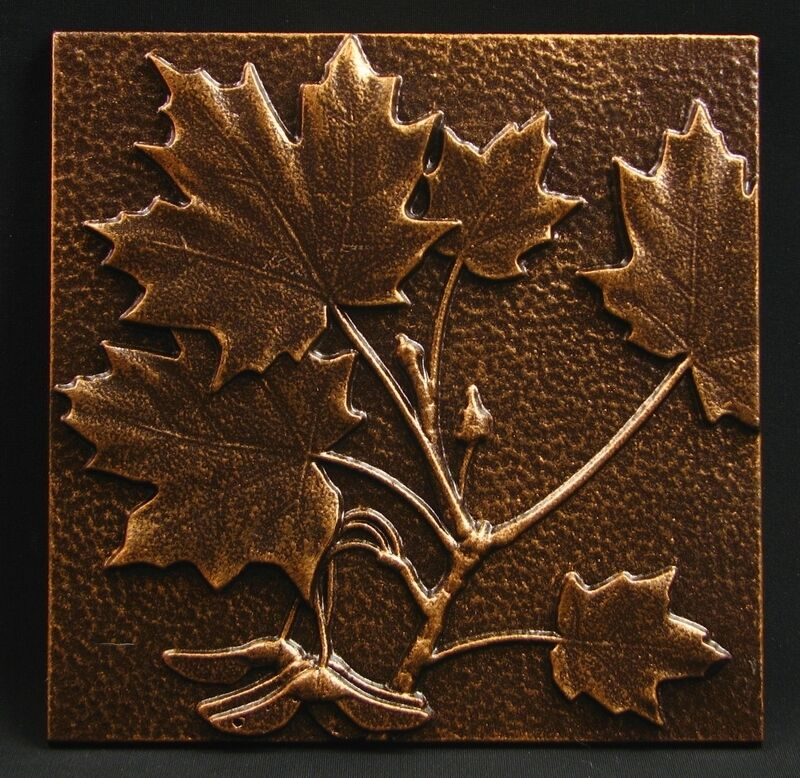 """Arts and Crafts Copper Tone Maple Leaf Tile by Whitehall 8"""" x 8"""""""