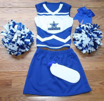 Cowboy Cheerleader Outfit (COWBOYS CHEERLEADER COSTUME OUTFIT SET POM POMS BOW UNIFORM ADULT SMALL JR'S)
