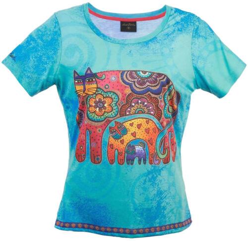 New LAUREL BURCH T-Shirt Tee Top SKY BLUE CAT Black White SIZE M Kitten Clothes