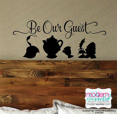 Beauty and the Beast Be Our Guest Quote Vinyl Wall Decal Sticker Disney - Beauty And The Beast Be Our Guest