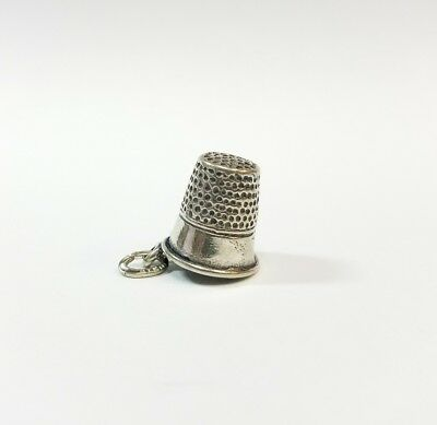 VINTAGE STERLING SILVER  SEWING THIMBLE CHARM PENDANT