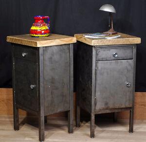 meuble industriel antique bois brute metal fonte deco
