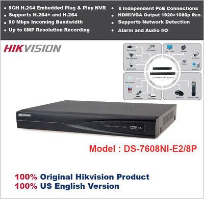 Original Hikvision-usa Ds-7608ni-e28p 8ch Pp Nvr8 Port Poe1080p Hdmi Output