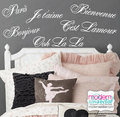 PARIS THEME QUOTES Vinyl Wall Decals Ooh La La, Je t'aime, B