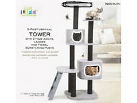 PENN-PLAX NEW/BOXED 2 Post Vertical Tower Cat Tree with Hide Away