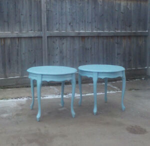 FRENCH PROVINCIAL SIDE TABLES SET OF 2 -HAZY SEA BLUE SOLID WOOD