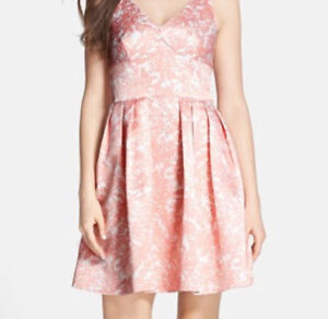 Cece 'Kinley' Floral Print Satin V-Neck Fit & Flare Dress w/tags