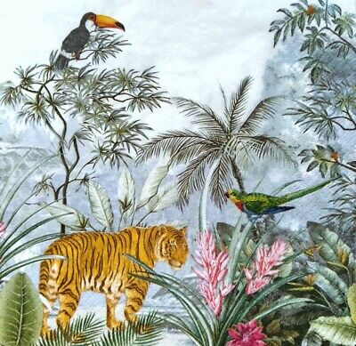 4 Lunch Paper Napkins for Decoupage Party Table Vintage Jungle Animals , Tigers