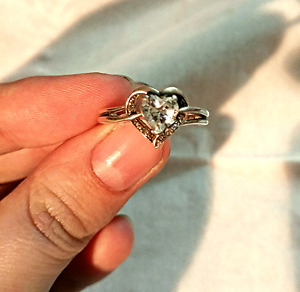White Topaz Heart Ring with Diamond Accents in Sterling Silver