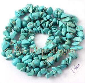 6MM - 8MM FREEFORM CHIPS BLUE TURQUOISE GEMSTONE BEADS STRAND 16