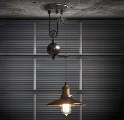 Industrial Rustic Pulley Pendant Light 1 Light Black Iron Ce