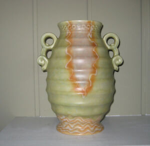 "Beswick Ware art deco studio pottery 11"" vase mottled drip ware"
