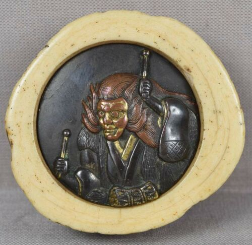 19c kagamibuta netsuke ACTOR DEMON with drum