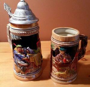 2 Vintage Beer Steins - 1 is authentic German with silver lid