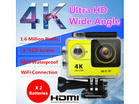 New 4K 2'' LCD Ultra HD WiFi Sport Action Camera DV HDMI Video Recorder 16MP 1080P , 2 x Batteries