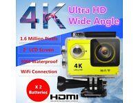 4K 2'' LCD Ultra HD WiFi Sport Action Camera DV HDMI Video Recorder 16MP 1080P Yellow/Black Colour