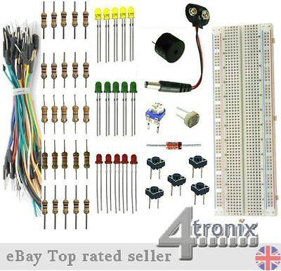 Starter Kit: Breadboard, Jumper Wires, LEDs, Resistors, etc. without Arduino