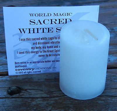 Sacred White Sage candle Coventry Creations Purify and Bless Cleansing Votive