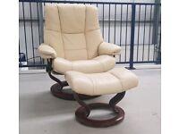 Ekornes Stressless swivel recliner leather chair & footstool Large Cream 21918/2