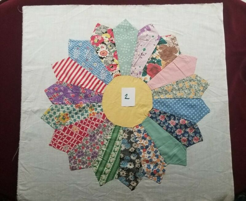 Vintage 30s 40s Feed Sack Prints!  Dresden Plate Quilt Block, Hand Pieced, 22X22