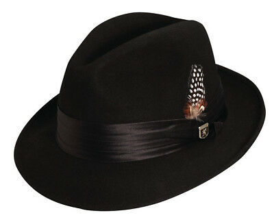 STACY ADAMS * MENS BLACK WOOL FEDORA HAT  * XXL * NEW CRUSHABLE LINED GODFATHER