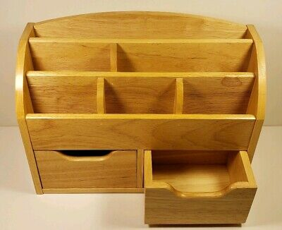 Wooden Desktop Organizer With Drawers For Papers Pens And Stamps
