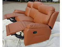 Brand New Ricardo 3 Seater Leather Recliner Sofa - Tan