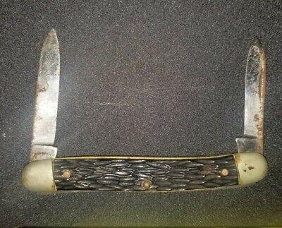 Vintage Ulster Knife Co. 2 Blade Pocket Knife USA bone handle