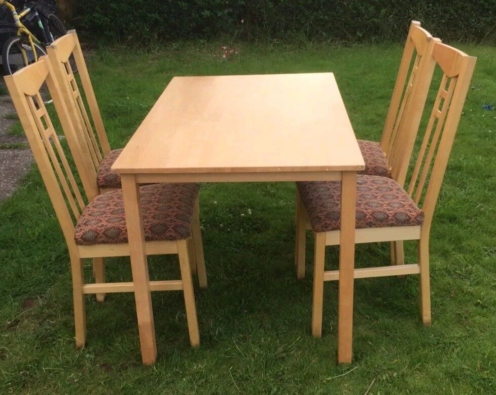 Ikea Solid Wood Table & 4 Chairs FREE DELIVERY 561