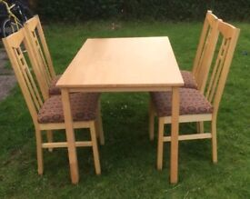 Ikea Solid Wood Table & 4 Chairs FREE DELIVERY 860