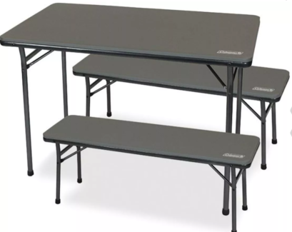 Coleman folding table & bench chairs
