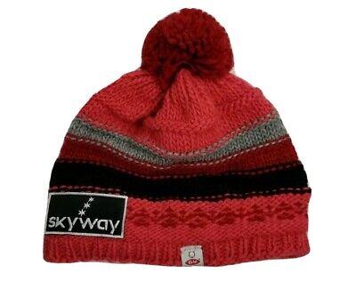 GM Sport Winter Hat Womens Red Toboggan Knit Beanie Made in Italy Alpaca -