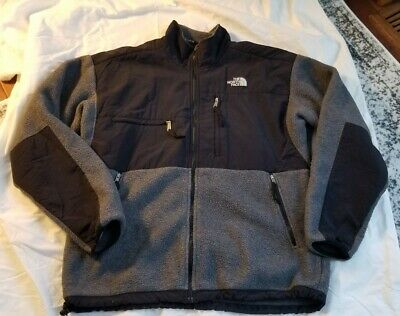 The North Face Mens XL Denali Fleece Jacket Black Gray Full Zip Up Jacket GUC