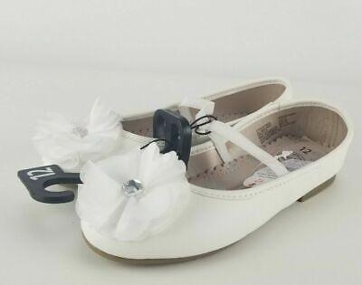 Girls todder White SHOSE Bow Dress flower dresssy flat Size 7,8,12 Wonder Nation