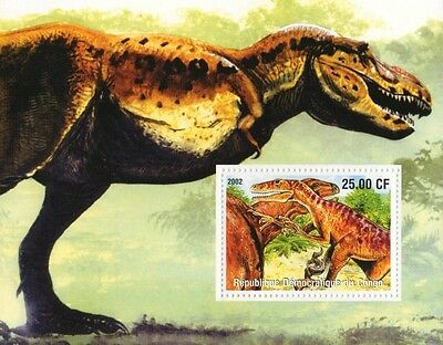 DINOSAUR PREHISTORIC ANIMAL MONSTER CONGO 2002 MNH STAMP SHEETLET