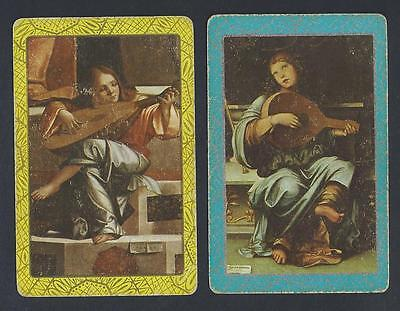 #150.483 vintage swap card -FAIR pair- Musicians playing a - Musician Playing Lute